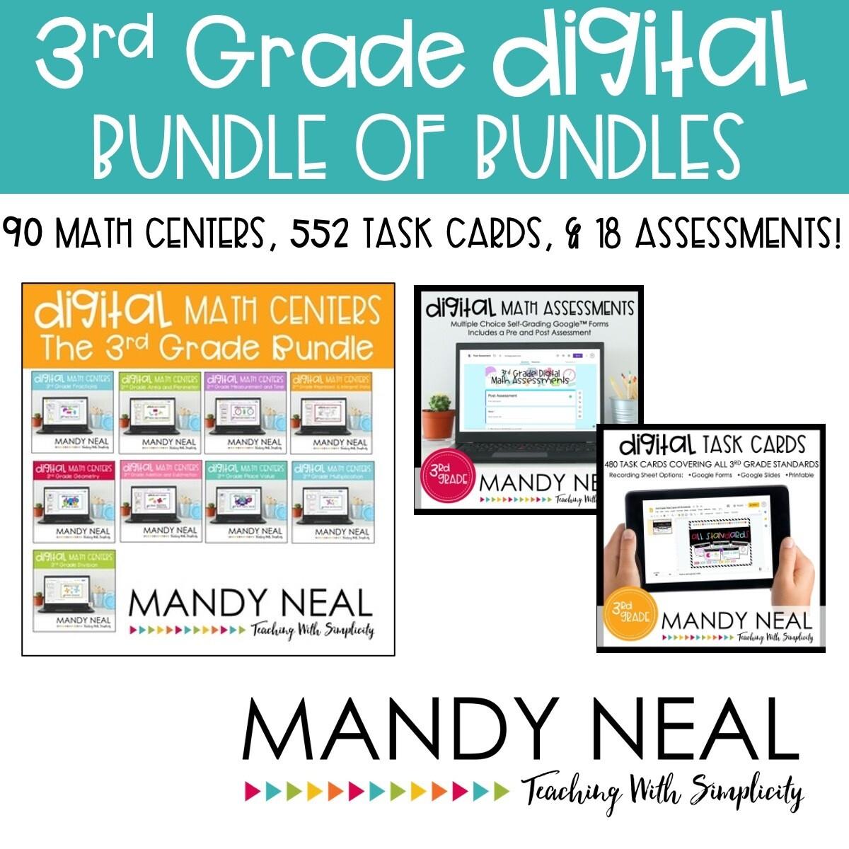 Third Grade Digital Math Task Cards, Centers, Assessment