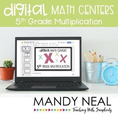 Fifth Grade Digital Math Centers Multiplication