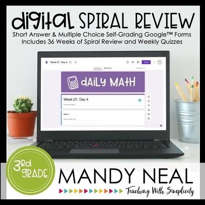 5th Grade Digital Daily Math Spiral Review