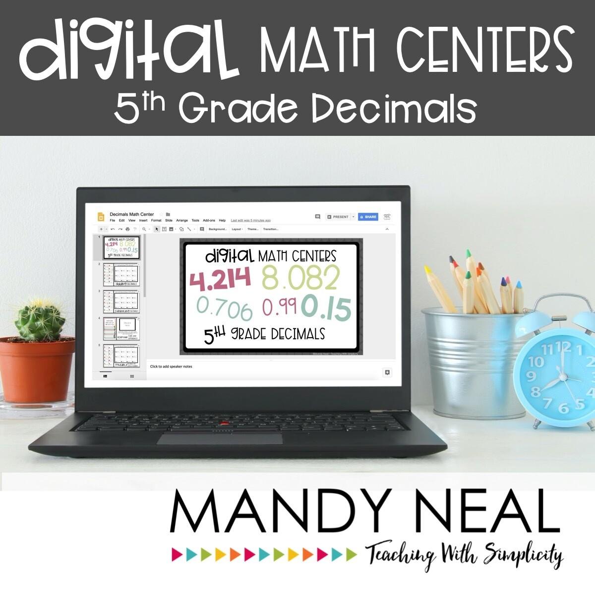 Fifth Grade Digital Math Centers Decimals