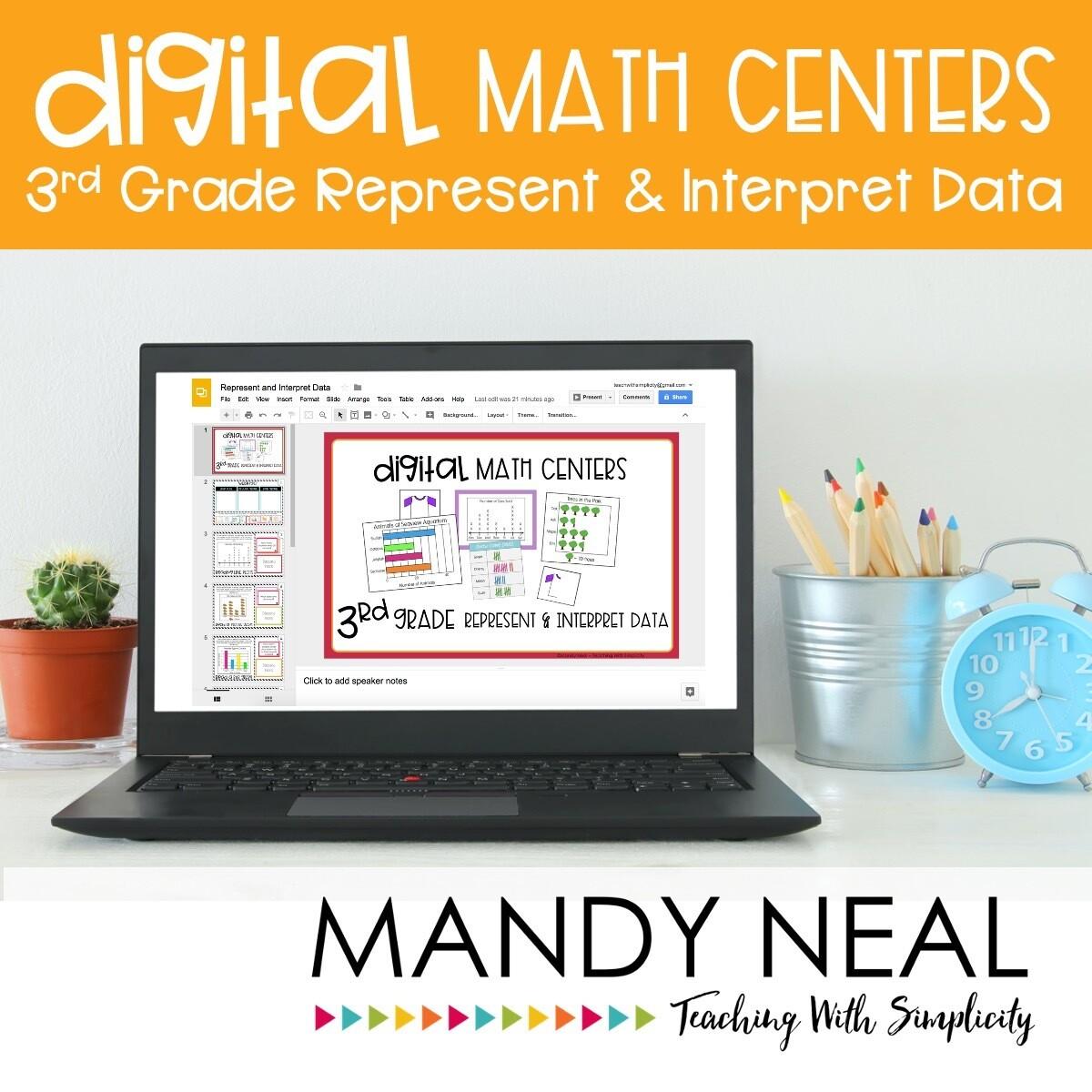 Third Grade Digital Math Centers Represent & Interpret Data