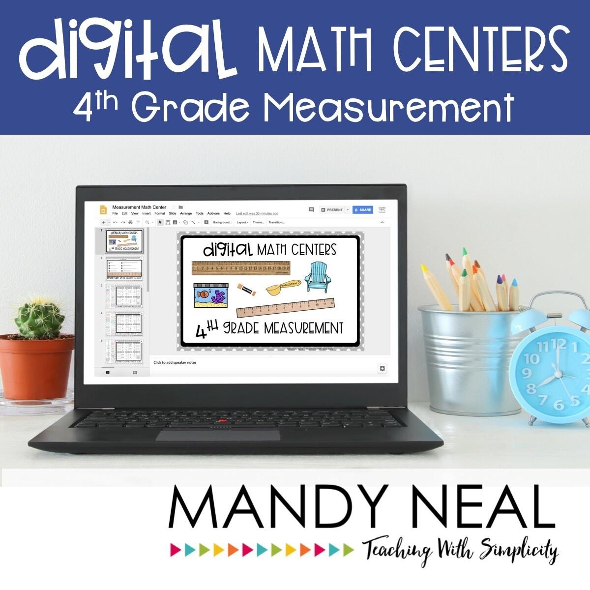 Fourth Grade Digital Math Centers Measurement