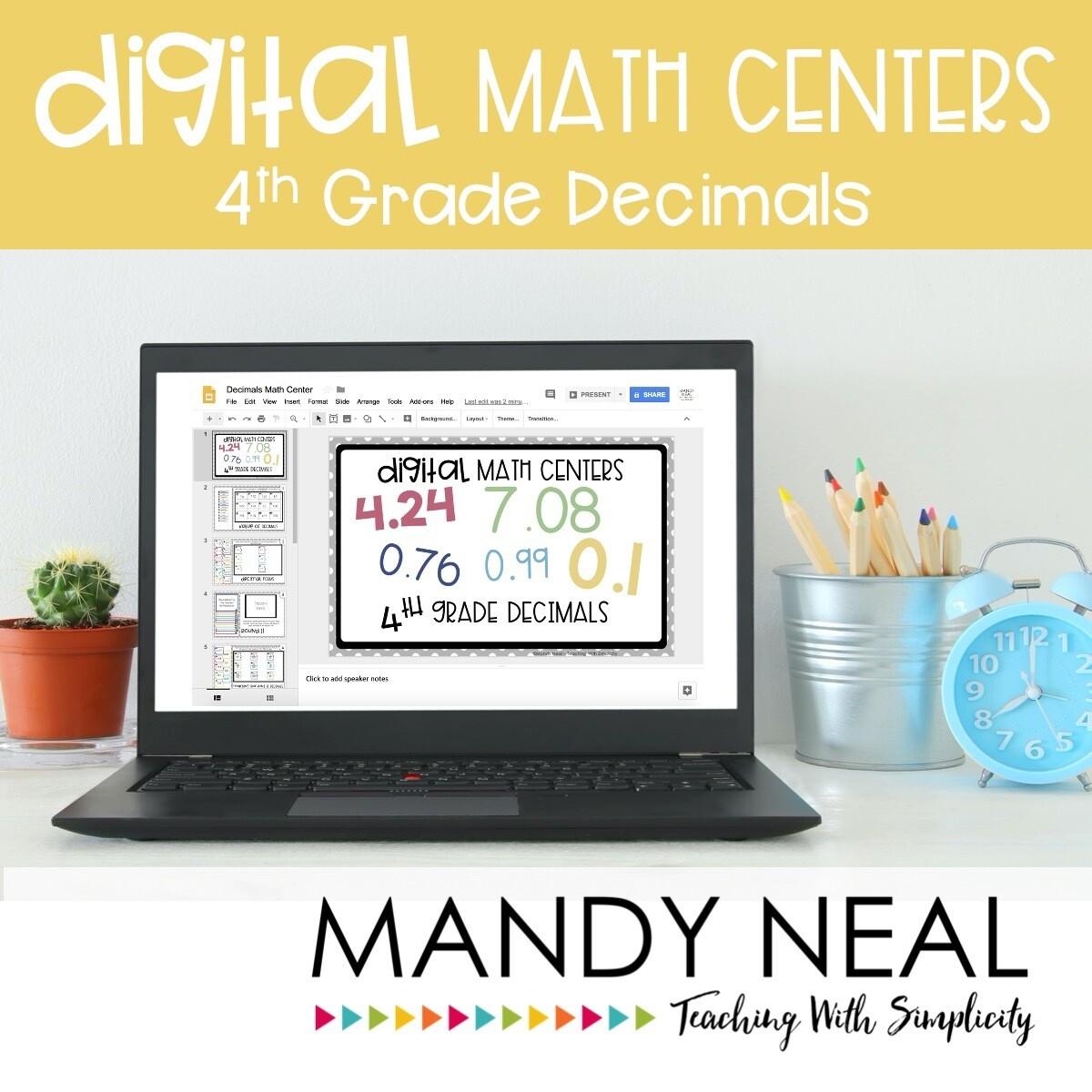 Fourth Grade Digital Math Centers Decimal