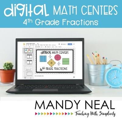 Fourth Grade Digital Math Centers Fractions