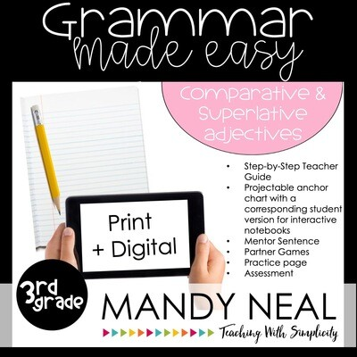 Print + Digital Third Grade Grammar Activities (Adjectives that Compare)