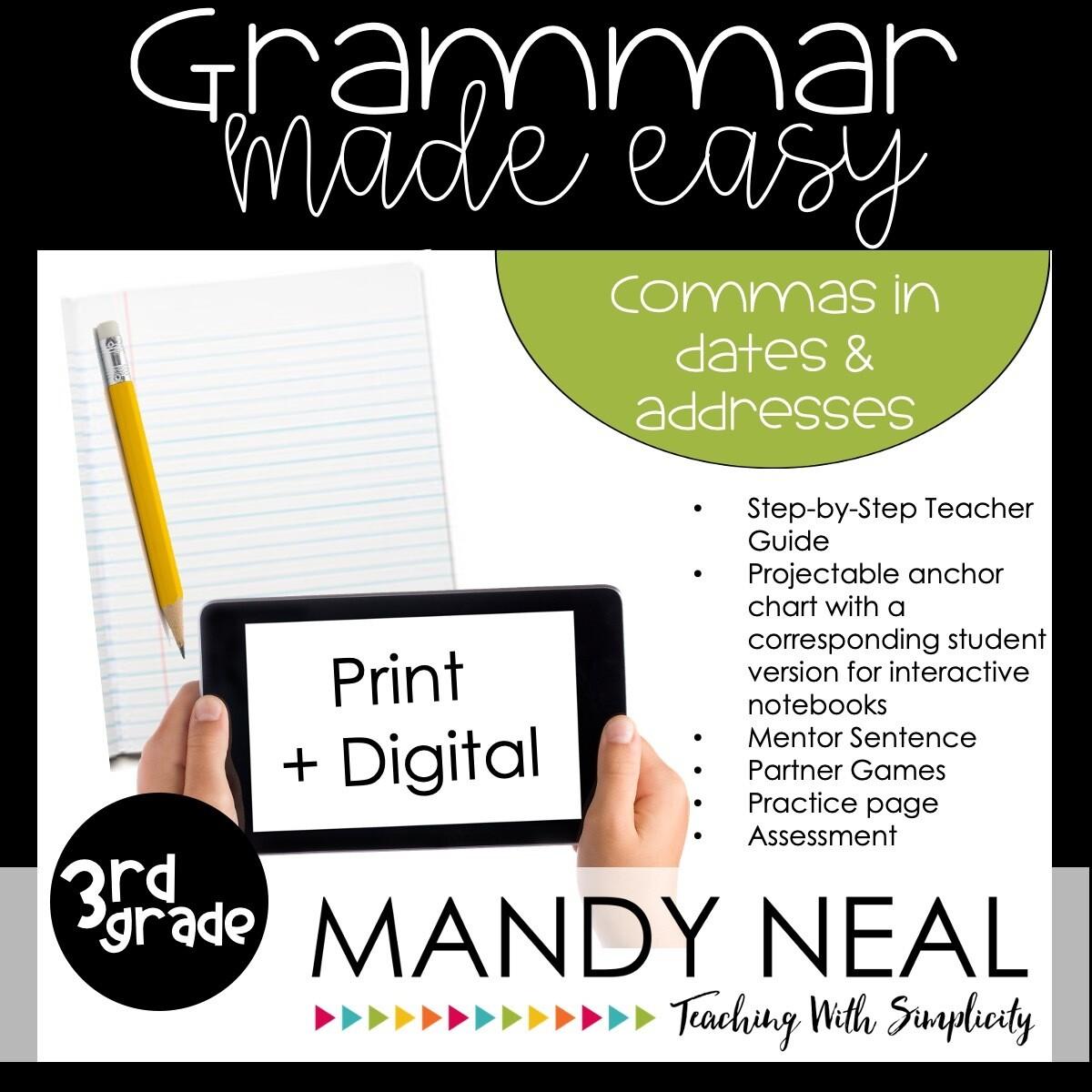 Print + Digital Third Grade Grammar Activities (Commas in Dates and Addresses)