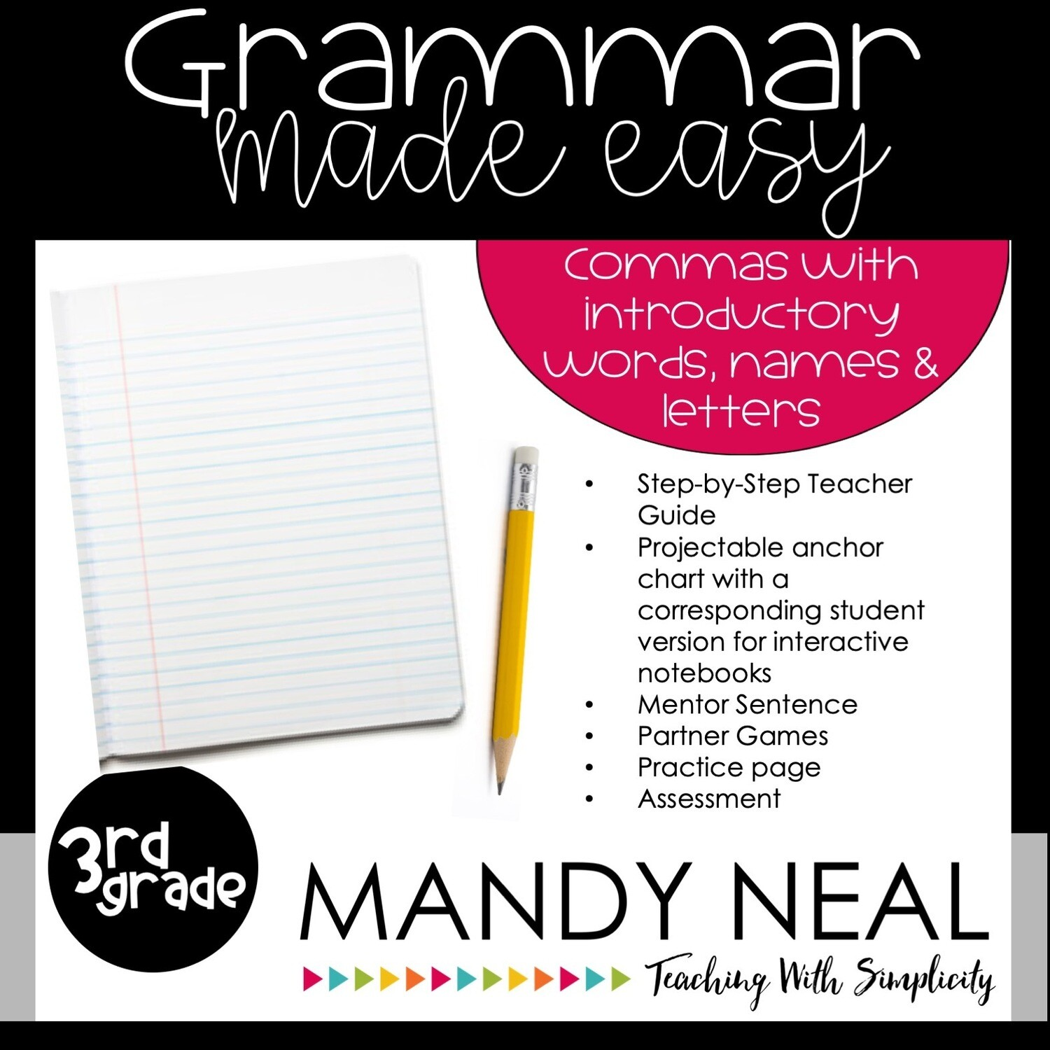 Third Grade Grammar Activities (Introductory Words, Names, Letters)