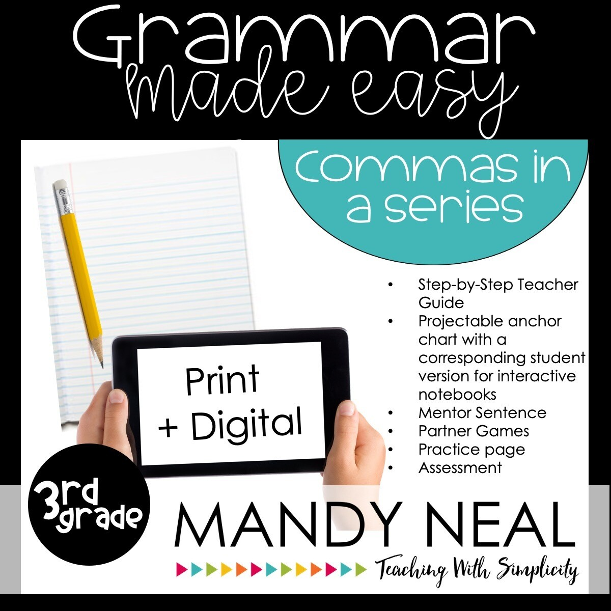 Print + Digital Third Grade Grammar Activities (Commas in a Series)