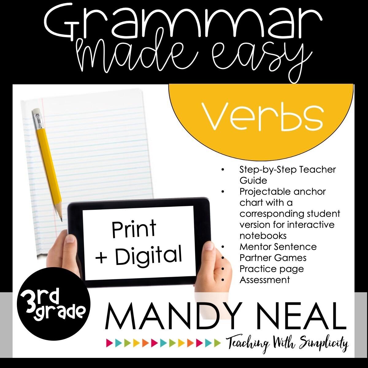 Print + Digital Third Grade Grammar Activities (Verbs)