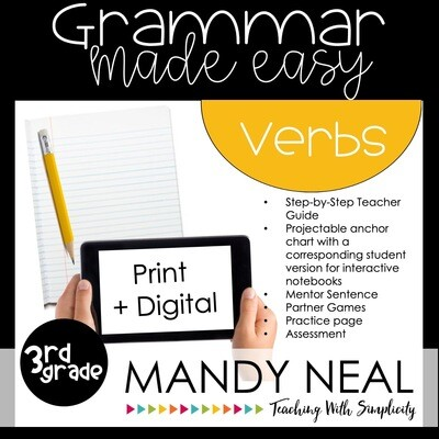 Print + Digital Third Grade Grammar (Verbs)