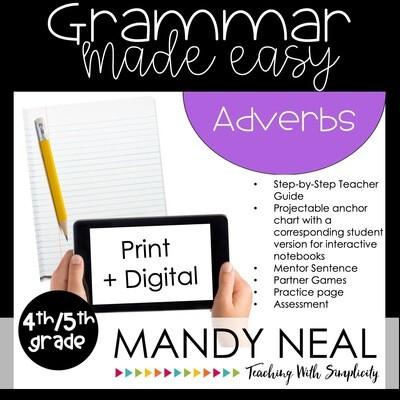 Print + Digital Fourth and Fifth Grade Grammar Activities (Adverbs)