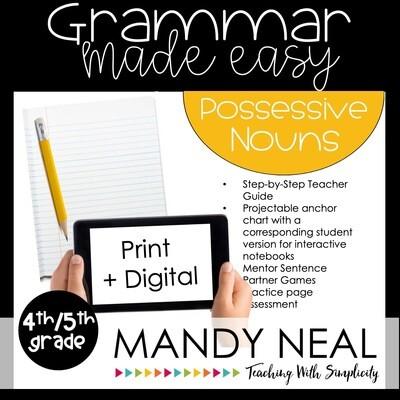 Print + Digital Fourth and Fifth Grade Grammar Activities (Possessive Nouns)