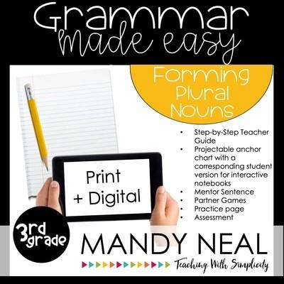 Print + Digital Third Grade Grammar Activities (Forming Plural Nouns)
