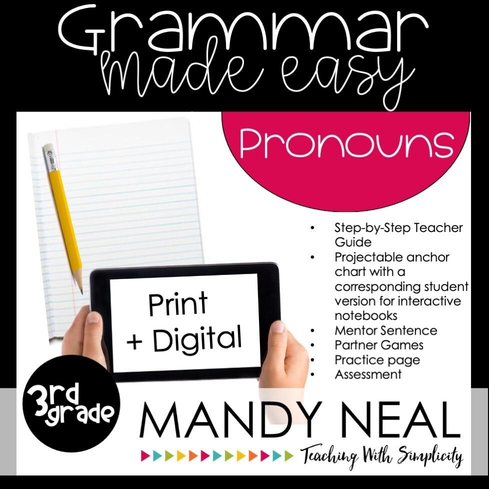 Print + Digital Third Grade Grammar Activities (Pronouns)