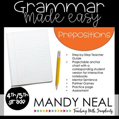 Fourth and Fifth Grade Grammar Activities (Prepositions and Phrases)