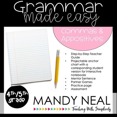 Fourth and Fifth Grade Grammar Activities (Appositives and Commas)