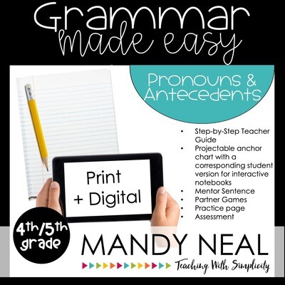 Print + Digital Fourth and Fifth Grade Grammar Activities (Pronouns and Antecedents)