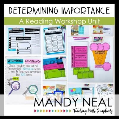 Determining Importance Reading Workshop Unit (Printable)