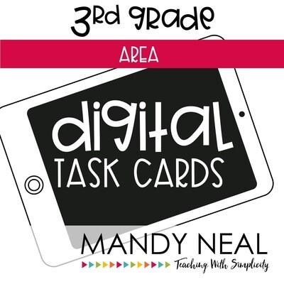 Third Grade Digital Math Task Cards ~ Area