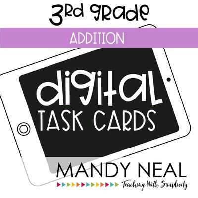 Third Grade Digital Math Task Cards ~ Addition