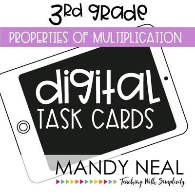 Third Grade Digital Math Task Cards ~ Properties of Multiplication