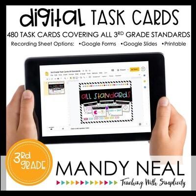Third Grade Digital Math Task Cards ~ Bundle