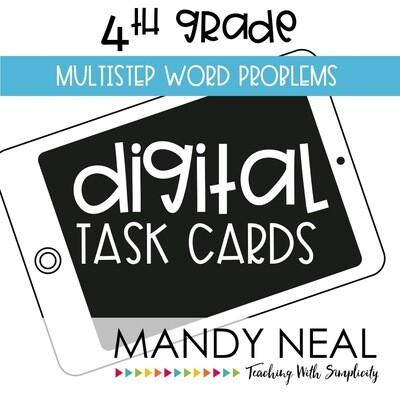 Fourth Grade Digital Math Task Cards ~ Multistep Word Problems