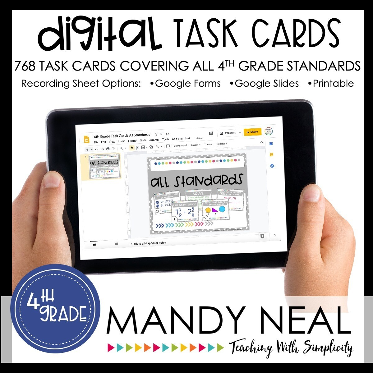 Fourth Grade Digital Math Task Cards ~ Bundle