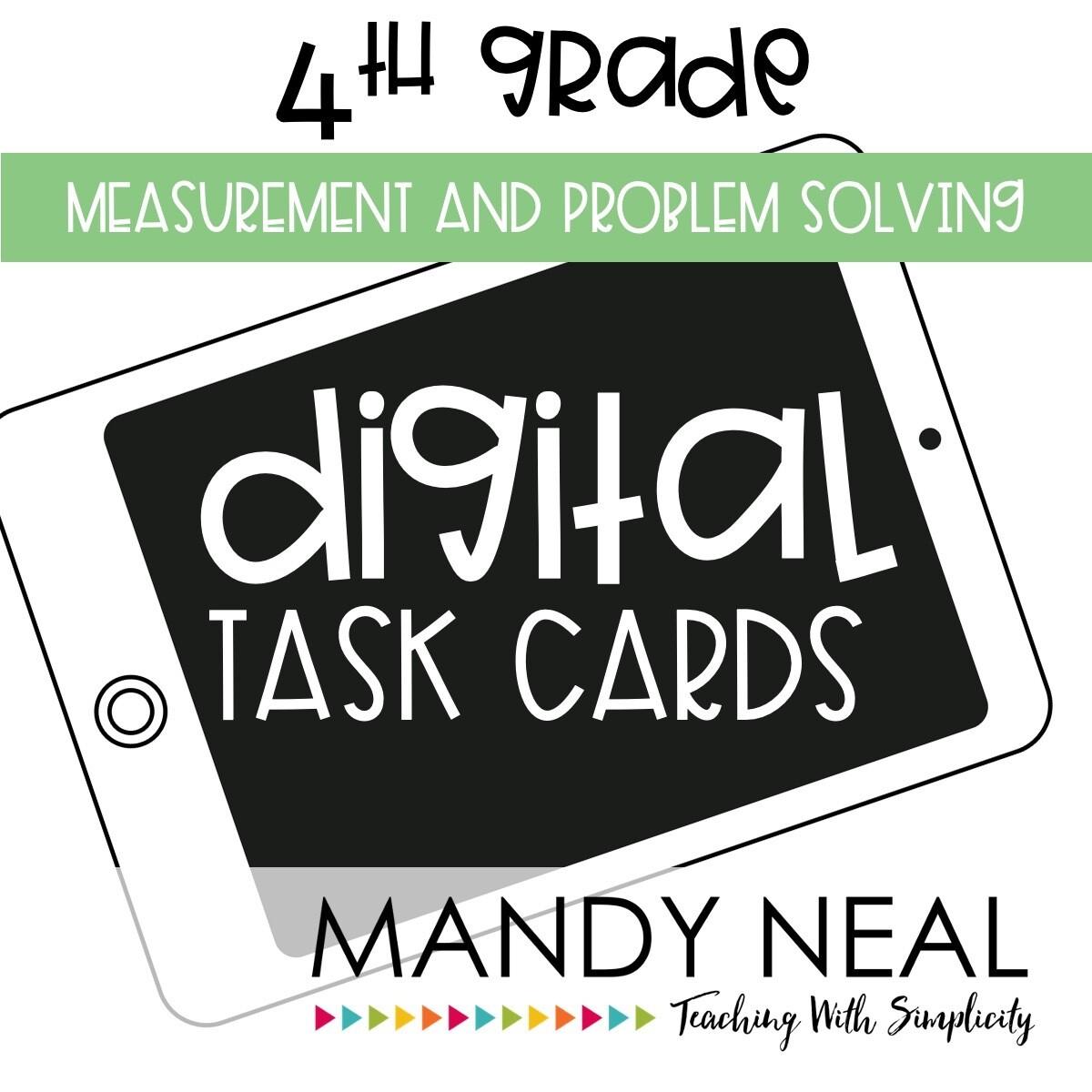 Fourth Grade Digital Math Task Cards ~ Measurement and Problem Solving