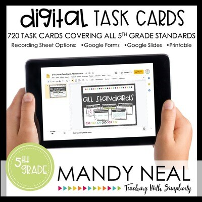 Fifth Grade Digital Math Task Cards ~ All Standards Digital Edition Bundle