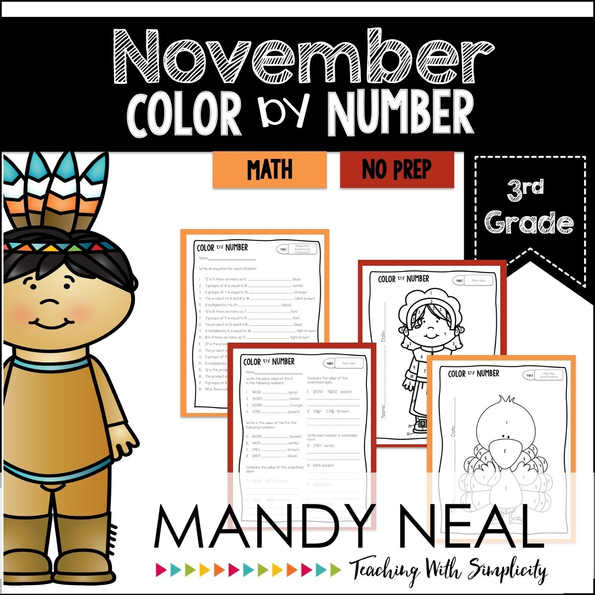 November Color By Number for 3rd Grade Math