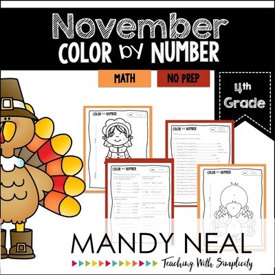 November Color By Number for 4th Grade Math