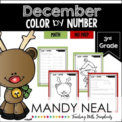 December Color By Number for 3rd Grade Math
