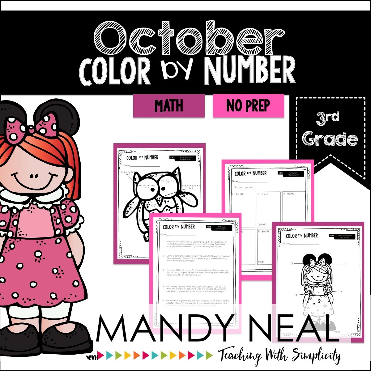 October Color By Number for 3rd Grade Math