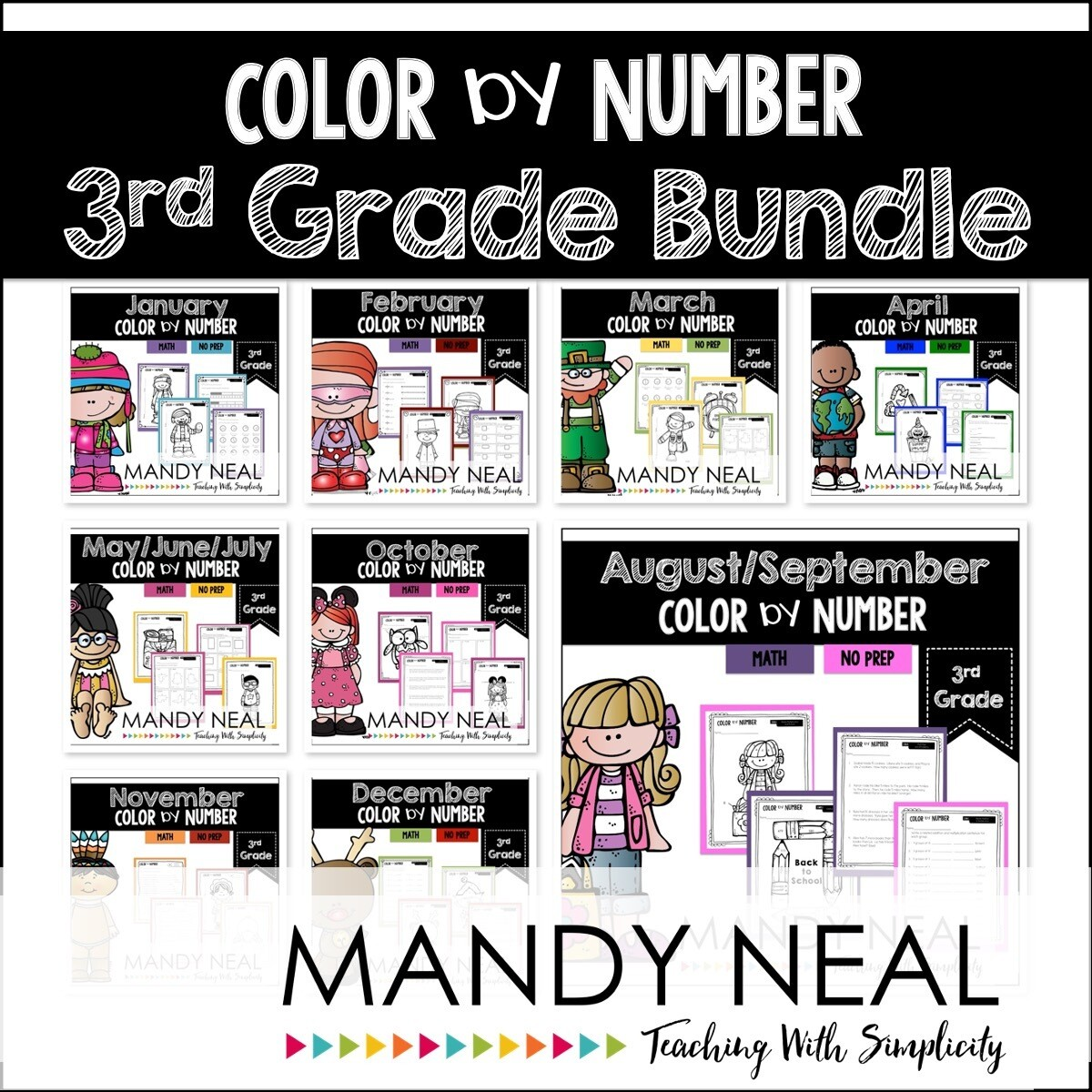 3rd Grade Color By Number Math Bundle