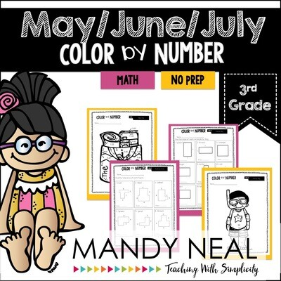 May Color By Number for 3rd Grade Math