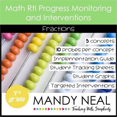 3rd Grade Math Intervention Assessments & Intervention Binder for Fractions Bundle