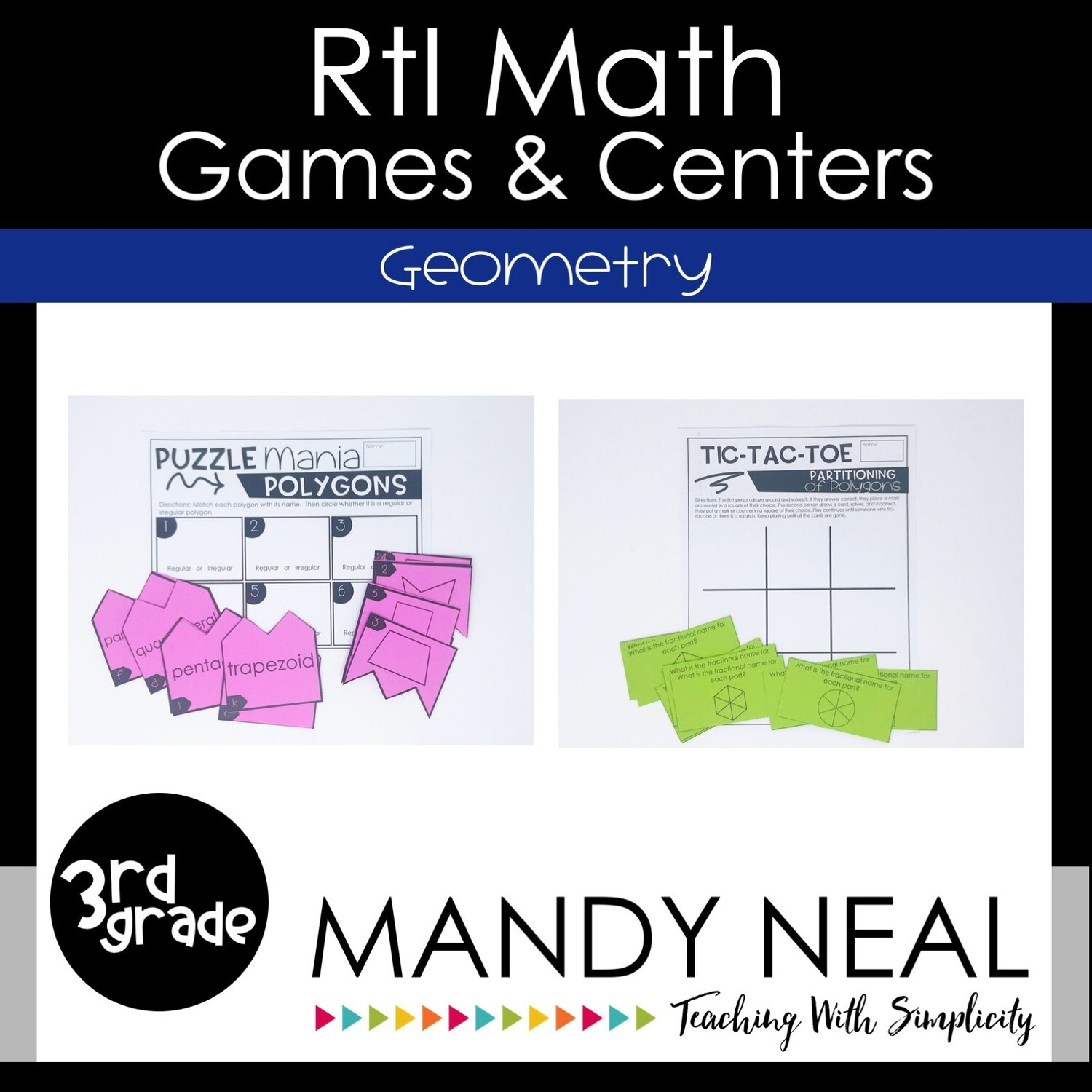 3rd Grade Math Intervention Games and Centers for Geometry