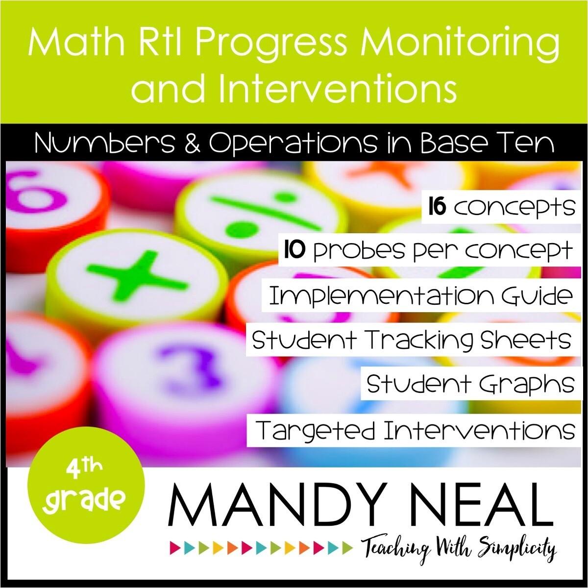 4th Grade Math Intervention Assessments & Intervention Binder for NBT Bundle