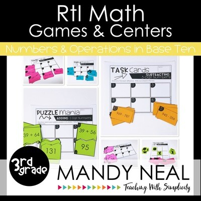 3rd Grade Math Intervention Games and Centers for NBT