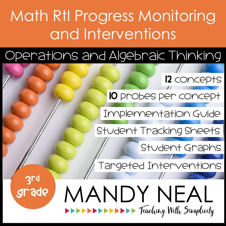 3rd Grade Math Intervention Assessments & Intervention Binder for OA Bundle