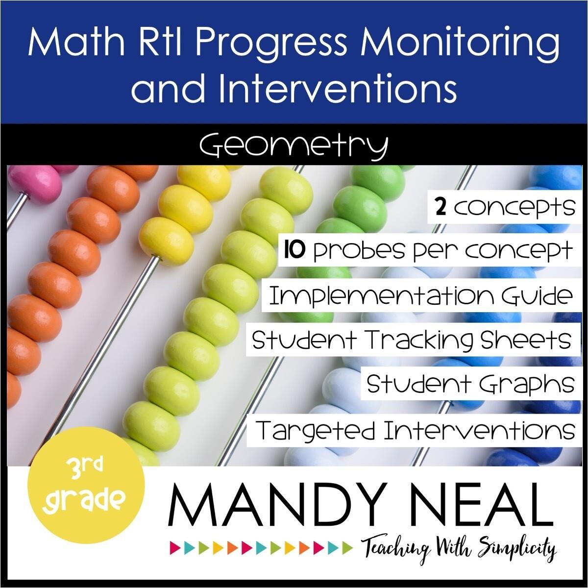 3rd Grade Math Intervention Assessments & Intervention Binder for Geometry Bundle