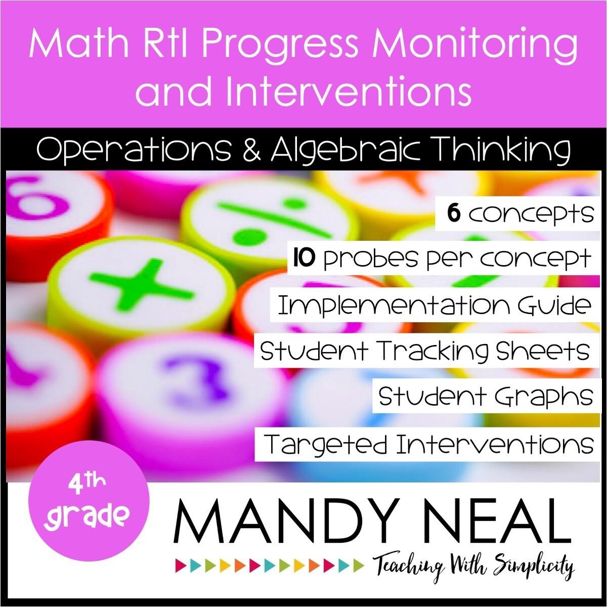 4th Grade Math Intervention Assessments & Intervention Binder for OA Bundle