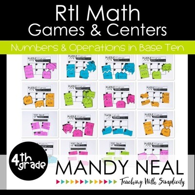 4th Grade Math Intervention Games and Centers for NBT