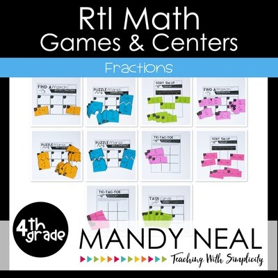 4th Grade Math Intervention Games and Centers for Fractions
