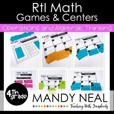 4th Grade Math Intervention Games and Centers for OA