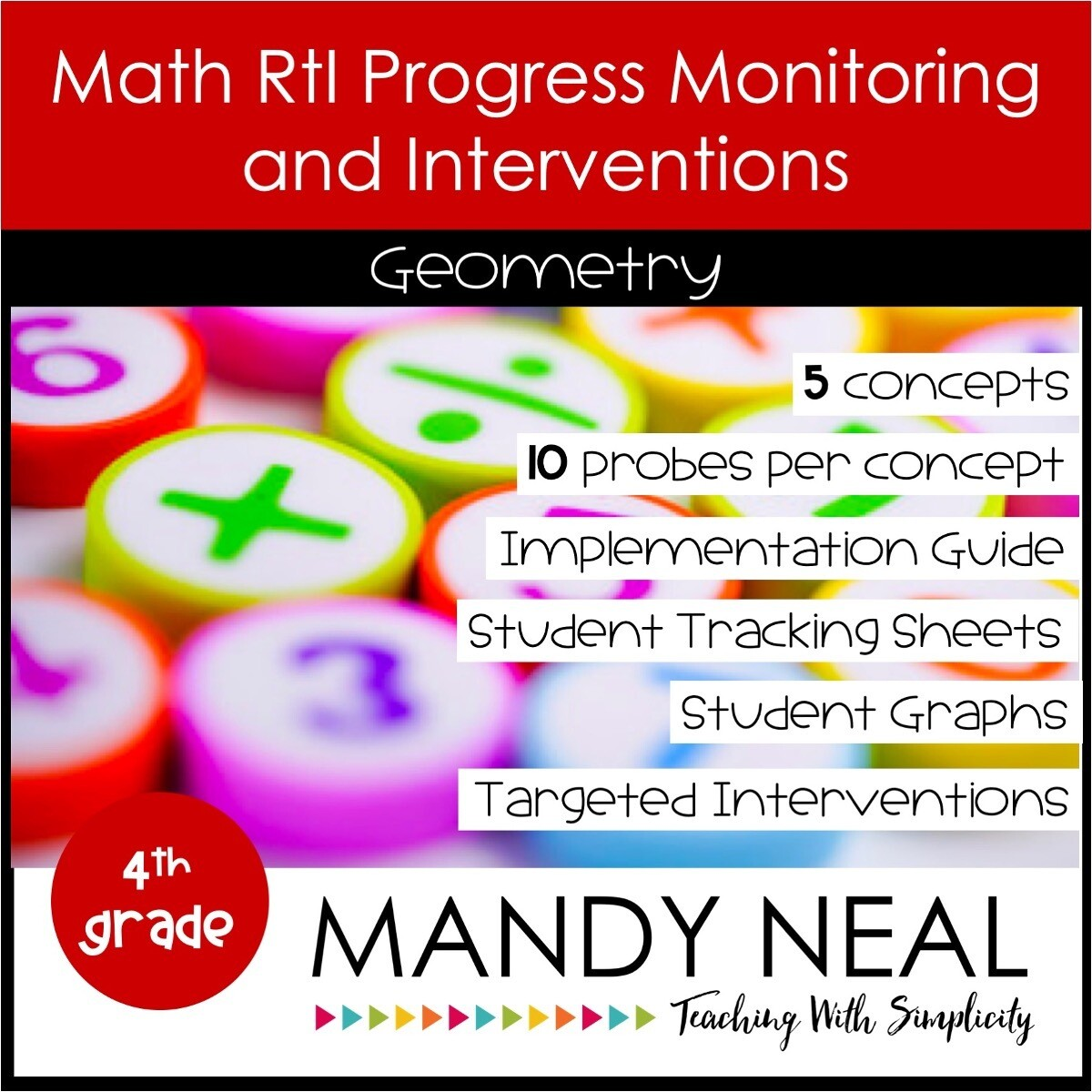 4th Grade Math Intervention Assessments & Intervention Binder Geometry Bundle