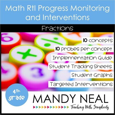 4th Grade Math Intervention Assessments & Intervention Binder for Fractions Bundle