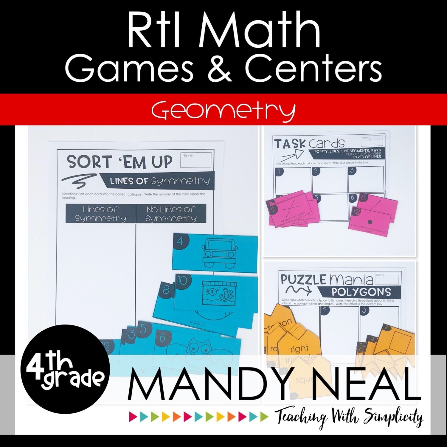 4th Grade Math Intervention Games and Centers for Geometry