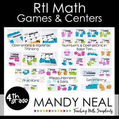 4th Grade Math Intervention Games and Centers